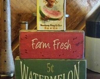 Primitive Watermelon/Summer Wood Block Sign