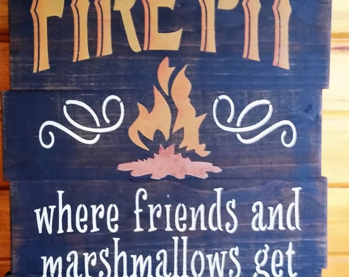 "Primitive Large ""Welcome To Our Fire Pit"" Sign"