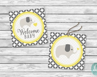Printable Cupcake Topper Favor Tag Baby Shower Baby Shower Party Printable Sticker Gray Yellow Elephant Polka Dot Baby Girl Boy Sticker