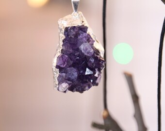 Purple Amethyst Cluster Sterling Silver Plated Crystal Pendant