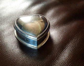 Silver Plate Heart Ring Box
