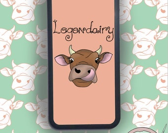 Cow 'Legendairy' Phone Case, IPhone Cover, Samsung And Other Models Available, Illustrated Pun Design