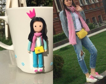 The mug decorated with polymer clay by your order