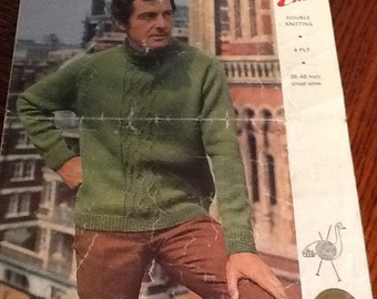 Men's vintage knitting pattern by Emu, polo sweater with cable panel, Double knitting and 4 ply, 36-46 inch chest