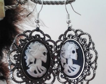 Lolita Skull Cameo Earrings. Elegant. Gothic. Brand New. Handmade.
