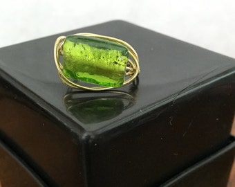 FREE SHIPPING! Green/Gold Ring Wire Wrapped - Size 8.5