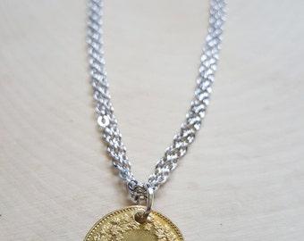 Travel Charm Bracelet, Wanderlust Jewelry, Good Luck Charm, Rhodium Silver Jewelry, Switzerland Coin 5 Rappen, World Traveler Jewelry