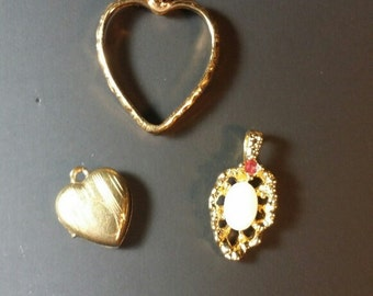 Baby Vintage locket, heart and childs pendant