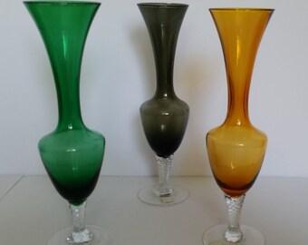 Set of three Napcoware Glass Bud Vases- Amber, Green, and Smoke Colors