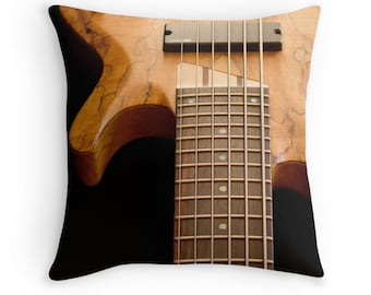 Bass Guitar Pillow Cover ~  Orange & Black Pillow ~  Music Art  ~ Musical Instrument Photography ~ Modern Home Decor ~ Casual Throw Pillow
