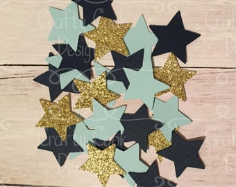 Twinkle Twinkle Little Star Baby Shower - Blue and Gold Stars  - Baby Shower Confetti - Birthday Confetti - Party Confetti