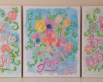 Set of 3 Inspirational 16 x 20 canvas wall art, Nursery Art Work, Children's Decor, Kids Wall Art