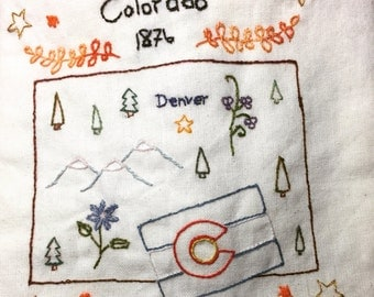 Colorado Love Hand sewn Embroidery