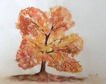Autumn Tree Original Watercolor Painting