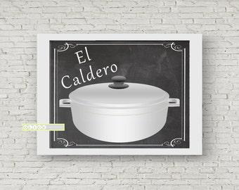 El Caldero - Puerto Rican rice pot - Nostalgic Puerto Rican Prints - Puerto Rican Art - Nostalgic rice pot every Puerto Rican home had