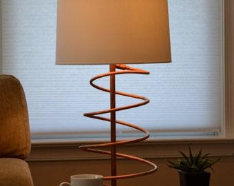 "Copper Table Desk Lamp ""Spiral De-Light"" Minimalist Industrialist"