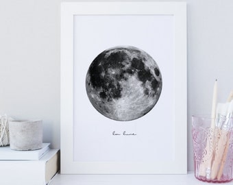 La lune print, moon print, moon printable wall art, moon art, digital download, la luna printable, minimalist print, office, scandinavian