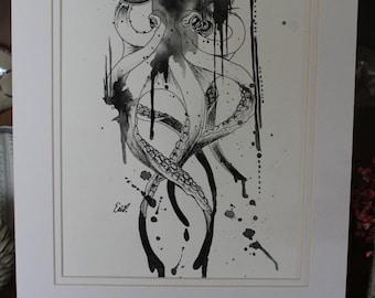 Splatter Octopus Watercolor and Ink Print