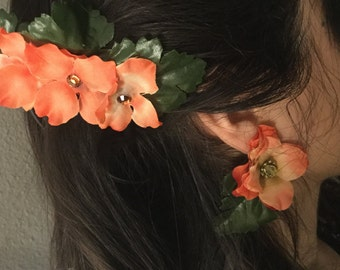 Fabric flower hair ornament