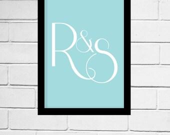 Custom Monogram - home decor, giclee print, typography, art print, wedding decoration, wedding, engagement, housewarming, initials, download