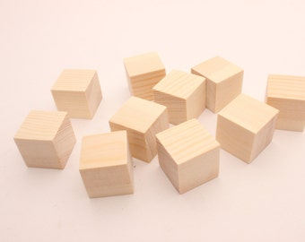 """Set of 30, 40, 50 1 inch pine wooden blocks 