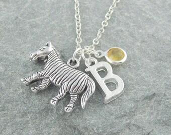 Zebra necklace, personalized jewelry, initial necklace, swarovski birthstone, silver chain, for her, animal jewelry, birthstone necklace