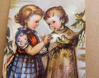 J Bukac Get Well Card / Children with baby birds / Vintage Hummel Style greeting card / Little Sweethearts J Bukac Greeting Card