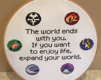 The World Ends With You Quote Cross Stitch