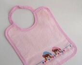 Baby bib - cross stitch bib - handmade teddy bear bib - cotton bib - Bibs & Burping - baby gift - baby shower gift - hand embroidered