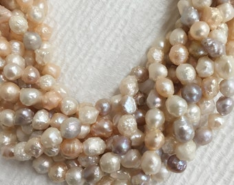 Wholesale Freshwater Pearl Necklace White  Pink Rice Pearls