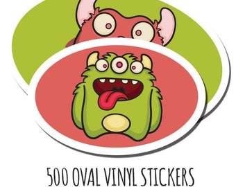 Bulk Vinyl Stickers- 500 Custom Stickers- Vinyl Oval Stickers - Waterproof