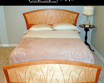 Queen Bed In Cherry And Curly Maple With Curvy Inlay (River Rushes)