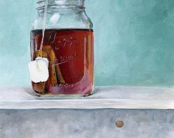 Tea in a Mason Jar Acrylic Painting print - tea - kitchen decor - food art - mason jar art