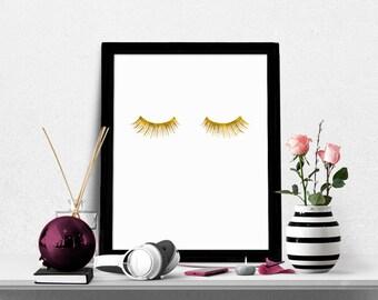 Eyelashes Print, Gold Eyelashes Printable, Fashion Print, Lashes Poster, Beauty Print, Chic Bedroom Wall Decor, Eyelashes, Lashes