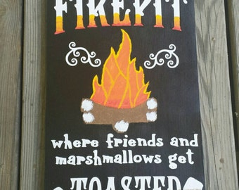 Welcome To Our Fire Pit Sign, Welcome To Our Firepit, Welcome to our fire pit, Fire pit sign, Firepit sign, Painted sign