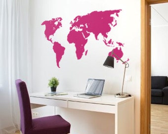 World map decal temporary wall decor office wall decal world world map decal for wall world map sticker for office large wall decal removable wall decal gumiabroncs Image collections
