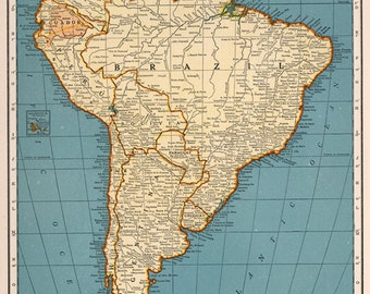Vintage South America Map Digital download - Vintage Art Image - Instant Digital Download.PRINTABLE map. Rand McNally 1935 map, Wall Decor