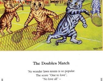 Louis Wain Vintage 2-sided Cat Art Print, Famous Cat Illustrator. Original Bookplate Print, Home Decor, Wall Hanging, Whimsical Cat Art
