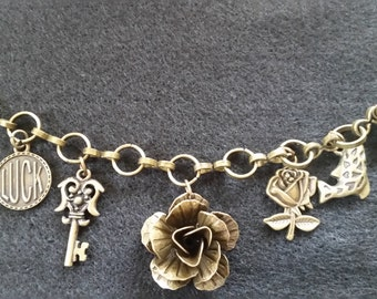 Brass customizable charm bracelet