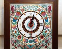 Mediterranean wall clock. Hand painted ceramic vintage clock. Italian style wall decor