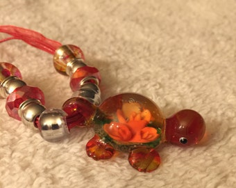 Red Lampwork Murano Glass Turtle Pendant Necklace