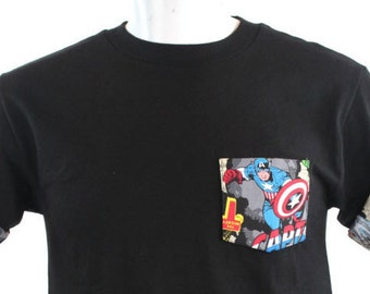 Captain America Pocket Roll-up T-Shirt, Avengers T-shirt, Super Hero Pocket and Roll-up Sleeves T-shirt, Captain America Tee