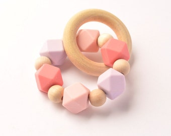 Pink & Purple Silicone Organic Wooden Teething Ring, silicone bead teether, natural wooden bead teething toy, baby toy, wooden toy, baby gif