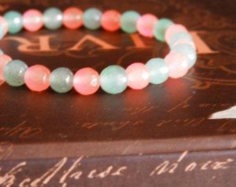 jade bracelet, summer bracelet, elastic bracelet, bead bracelet, birthday gift