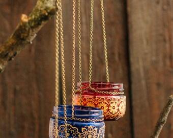 BOHEMIAN wedding decor, moroccan outdoor lantern, hanging jar candle lanterns, painted jar, henna pattern jar, colorful lantern