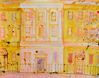 St JAMES SQUARE, ENGLAND. Original Painting of Bath, Classic Architecture, Wall Art, Home Decor, Sasha Barnes