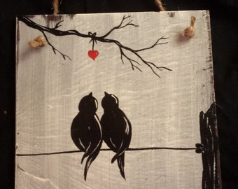 Hand painted slate, birds and heart