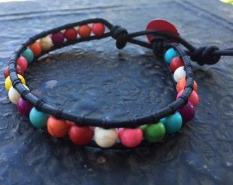 Leather Wrap Bracelet Caribbean Colors