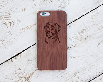 Labrador, Wood Case, iPhone 8, iPhone X, 7, 7 Plus, 6s, 6 6 Plus, 5s, 5, SE, Samsung Galaxy S8, S7, S6, Cover, Engraved #4071