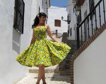 Pinup dress 'Lemonade', lemon rockabilly dress, shelf bust citrus dress